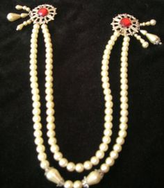 Sweater Clip Pin   Vintage  2 strands of Faux Pearls with Red Stones