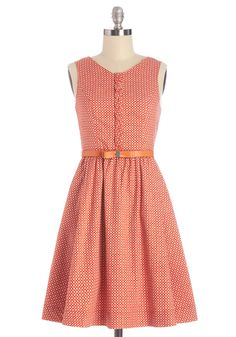 Bubble Take Dress. One of your favorite things about wearing this clay-orange, Myrtlewood dress - which is exclusive to ModCloth - is the delighted reactions of those who glimpse you in it. #red #modcloth
