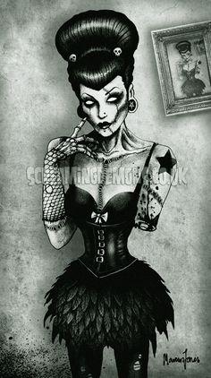 ' Zombie Girl 666 ' by Screaming Demons Zombie Kunst, Arte Zombie, Zombie Art, Zombie Pin Up, Dibujos Pin Up, Dibujos Cute, Demon Art, Arte Horror, Horror Art