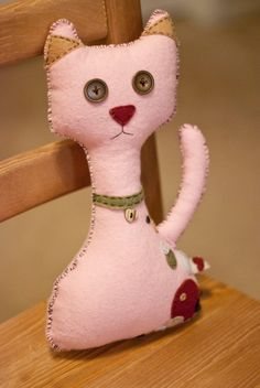 Pink Flannel Kitten Pillow by Ciaobeatrice on Etsy