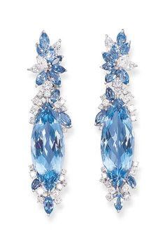 A PAIR OF AQUAMARINE AND DIAMOND EAR PENDANTS, BY MICHAEL YOUSSOUFIAN   Christie's Gems Jewelry, Jewelry Art, Antique Jewelry, Jewelry Accessories, Fine Jewelry, Fashion Jewelry, Jewelry Design, Aquamarine Earrings, Gemstone Earrings