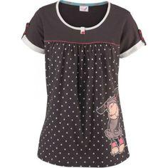 Pyjama Oberteil NICI Kurzarmshirt in Tunikaform Frontdruck Braun GR 44 Neu Shirt Dress, T Shirt, Polka Dot Top, Clothing, Ebay, Accessories, Tops, Dresses, Women