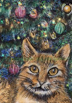 ACEO Original Art Cat Pet Tinsel Decorations Glitter Christmas Tree - SMcNeill #Realism