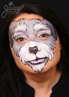 Schnauzer Dog Face Painting - Art & Photo: Susanne Daoud from www.JuicyBodyArt.com Model: Rosy Lazzaro
