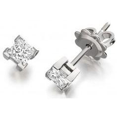 Cercei Tip Stud Aur Alb cu Diamant Princess Stud Earrings, Princess, Jewelry, Jewlery, Bijoux, Studs, Schmuck, Stud Earring, Princesses
