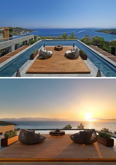 DESIGN DETAIL: A Rooftop Pool With An Ocean View - This rooftop sun-deck and pool can be found at the Mandarin Oriental Hotel in Bodrum, Turkey.