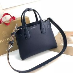 30ccce8976f6 Burberry Small Banner Bag in Grainy Leather Navy Blue 2018 Burberry Bags