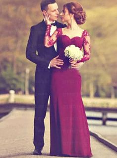 Mermaid Square Sweep Train Long Sleeves Burgundy Wedding Guest Dress with Appliques Burgundy Wedding Guest Dress, Bridesmaid Dresses, Prom Dresses, Wedding Dresses, Mermaid Evening Dresses, Simple Dresses, Appliques, Train, Stylish