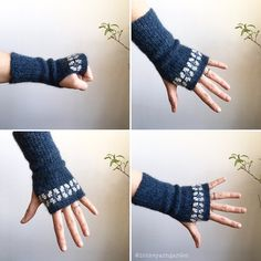 These cozy wrist warmers are super easy to crochet. They only consist of rows of single crochet (US terms). To make them a little more special they are decorated with cross stitches. Yarn Thread, Thread Crochet, Knit Crochet, Fingerless Mittens, Knit Mittens, Sweater Knitting Patterns, Crochet Patterns, Knitting Sweaters, Crochet Ideas