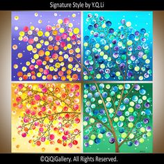 """Large Square art Four seasons Painting Art On Canvas Tree Painting Impasto Painting """"Dream Has Come True"""""""