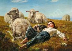 Danish Shepherd With Dog And Sheeps, Elisabeth Jerichau Baumann (1819 – 1881, Danish)