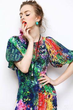 Morpheus Boutique  - Colorful Short Sleeve Round Neck Floral Celebrity Dress