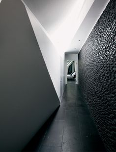 Architecture, Corridor Luxury Villa Design With Black And White Interior Color Decorating Ideas Ceramic Floor Tiles And Stone Wall: Marvelous Hebil 157 Houses by Aytac Architects