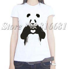 2017 summer style hot Giant Panda shirts rock milk silk girlfriend birthday t-shirts for womens funny dangerous animal t shirts