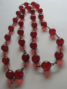 301f916ccd7f Rare Art Deco Cherry Bakelite Pools of Light Necklace