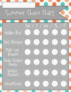 Summer Chore Charts - 6 designs available completed for blank || Over the Big Moon