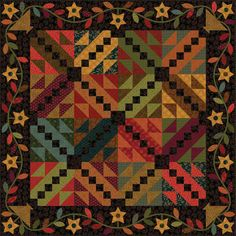"= free pattern =  Evening Star quilt. ~64 x 64"", by Kim Diehl for Henry Glass Fabrics"