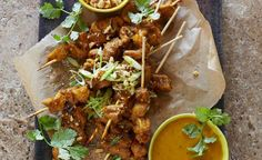 Vegan chicken-style skewers with peanut satay recipe | All4Women Food Peanut Satay Recipe, Peanut Sauce, Healthy Family Meals, Healthy Snacks, Best Vegetable Recipes, Fresh Coriander, Skewers, Fried Chicken, Cooking Time