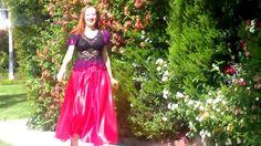 Beautiful spring. Ameynra fashion - red satin skirt, lace blouse. Designer Sofia Goldberg