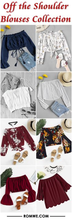 Off the Shoulder Blouses Collection Girls Fashion Clothes, Teen Fashion Outfits, Cute Fashion, Outfits For Teens, Girl Fashion, Summer Outfits, Teenager Mode, Teenager Outfits, Cute Casual Outfits