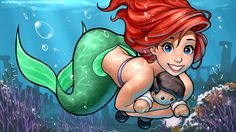 Anime picture with the little mermaid disney ariel ronin dude (ray cornwell) long hair single short hair highres blue eyes black hair wide image smile red hair absurdres holding black eyes tail eyebrows underwater fish tail Ariel Disney, Mermaid Disney, Ariel The Little Mermaid, Disney Girls, Walt Disney, Disney Fan Art, Disney Love, Disney Magic, Disney And Dreamworks