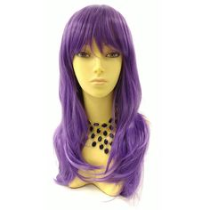 Long 18 Inch Straight Dark Purple Wig With Bangs Anime Cosplay Costume... ($40) ❤ liked on Polyvore featuring costumes, bath & beauty, grey, hair care, wigs, animal costumes, wig costume, cosplay halloween costumes, cosplay costumes and role play costumes