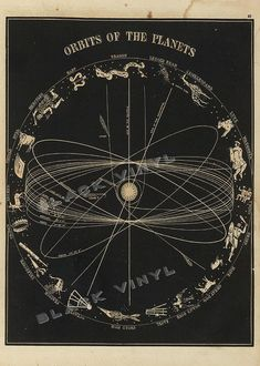 Antique Astronomy Poster Art Print Orbits Of The by TheBlackVinyl