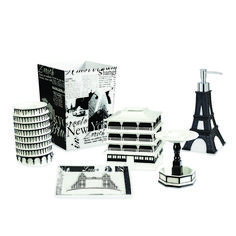 The stylish black and white designs of the Passport bath accessories will transport you to another city across the globe. These inspiring pieces are made of durable resin. Coordinate with the other Passport bath accessories and towels for a finished look. Paris Theme Bathroom, Paris Theme Decor, Paris Room Decor, Parisian Bathroom, Paris Rooms, Paris Bedroom, French Bathroom, Dream Bedroom, Black And White Design