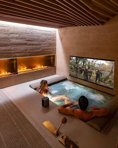 Instagram Home Spa Room, Home Cinema Room, At Home Movie Theater, Home Theater Rooms, Home Theater Design, Spa Rooms, Dream House Interior, Luxury Homes Dream Houses, Dream Home Design