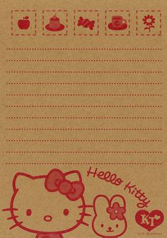 Kawaii memo paper - Hello Kitty - Sanrio and like OMG! get some yourself some pawtastic adorable cat apparel! Little Twin Stars, Free Printable Stationery, Hello Kitty Birthday, Phone Themes, Hello Kitty Wallpaper, Sanrio Hello Kitty, Stationery Paper, Note Paper, Kawaii