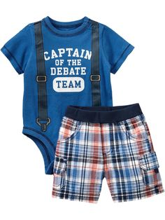 Team-Style Bodysuit/Short sets for Baby Boy - love the nerd/debate style!