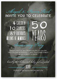 Wedding Anniversary Invitations: Celebrate The Years, Square Corners, Dynamiccolor