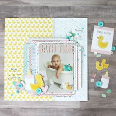 Remember the splish & splash of bath time? @reneezwirek uses lots of layers from the Lullaby collection for this bubbly layout. Head over to the blog to make your own bath time layout.