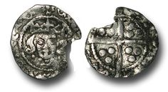 Edward IV (1461-1483), Penny, 0.47g., Heavy Cross and Pellets Coinage (1465), Dublin mint, i.m. Rose, crowned facing bust of Edward, pellets at neck, rev., plain long cross, (S.-; JBurns Du-3H (type 3) plate coin), fine.  Unique, 1 specimen in Burns