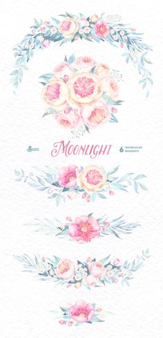 Moonlight: 6 Watercolor Bouquets popies roses by OctopusArtis