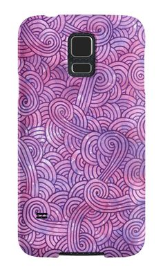 """Pink and purple zentangles"" Samsung Galaxy Cases & Skins by Savousepate on Redbubble #galaxycase #phonecase #galaxyskin #phoneskin #pattern #zentangles #scrolls #doodles #neon #purple #pink"