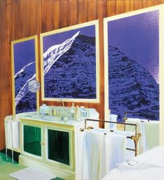 Dexter Dalwood Nietzsches Chalet 2001 interior view of a bathroom with a three panelled painting of a mountain hung on a wood panelled wall Dexter Dalwood, Wood Panel Walls, A Level Art, Figure Painting, Contemporary Paintings, Art Boards, Cool Art, Fine Art, Architecture