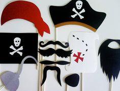 Photo Booth Props - 11 Piece Pirates Paradise Kit. $29.00, via Etsy.