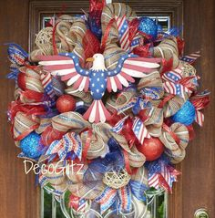 AMERICAN PRIDE Patriotic Wreath with EAGLE by decoglitz on Etsy