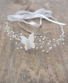 Wedding Butterfly head band Bridal halo wedding circlet by Elibre, €40.00