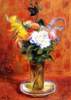 White Rose and Other Flowers (William James Glackens) 1937