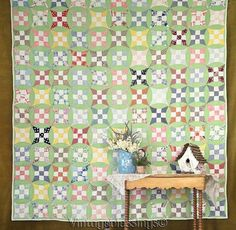 Spring Cottage! Sweet Vintage 30s Green QUILT Tiny Tiny Pieces!