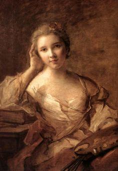 NATTIER Jean-Marc - Paris (1685 - 1766) ~  portrait of a young woman painter