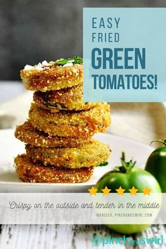 Crispy on the outside and tender in the middle, these Fried Green Tomatoes are addictive! Serve them as an easy appetizer, a party snack or make them the main attraction piled high on a BLT! This recipe for Fried Green Tomatoes is a slight variation of Southern Cooking's version: skipping the sugar, adding a bit of cayenne for kick and finishing with flaky sea salt for extra flavor and crunch of cornmeal. Easy Summer Meals, Healthy Summer Recipes, Quick Healthy Meals, Vegetarian Recipes, Easy Meals, Egg Recipes, Great Recipes, Cooking Recipes, Favorite Recipes