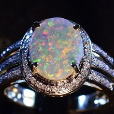 STUNNING NATURAL SOLID AUSTRALIAN OPAL SOLID 14K GOLD & 58 DIAMOND RING 12802 in Gemstone | eBay