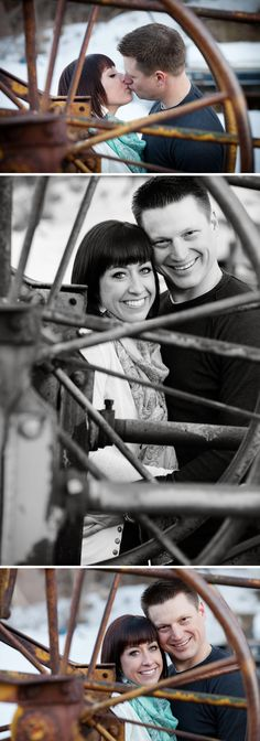 Rustic engagement session with #wagon wheel www.brandonburkphotography.com