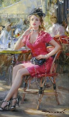 Painting People, Figure Painting, Watercolor Flowers Tutorial, Fantasy Women, Russian Art, Simple Art, Portrait Art, Portraits, Lady In Red