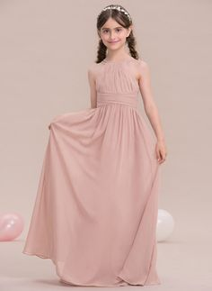 fb73fc7eeff A-Line Princess Scoop Neck Floor-Length Chiffon Junior Bridesmaid Dress  With Ruffle