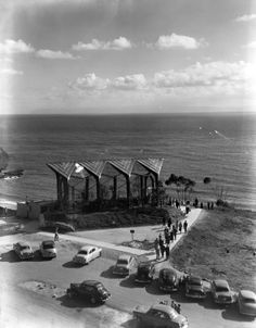 1950's Wayfarer Chapel in Palos Verdes California. Today  you can barely see the church with all the growth