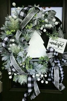 Christmas Wreath Christmas Pine Wreath Flocked Pine Christmas Wreath Sparkly Christmas Wreath Holiday Door Wreath One of a Kind Wreath Black and White Plaid Christmas Decor Home Decor Handmade Wreaths Wreaths Plaid Christmas, All Things Christmas, Winter Christmas, Christmas Home, Christmas Crafts, Christmas Quotes, Christmas Carol, Christmas 2019, Christmas Island